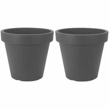 2x donker grijze plantenpot 50 cm prijs