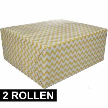 2x geel cadeaupapier met grafische print 70 x 200 cm prijs