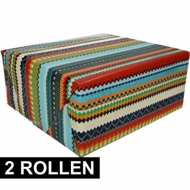 2x gekleurd cadeaupapier 70 x 200 cm type 3 prijs