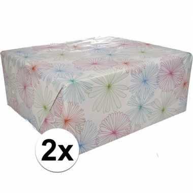 2x gekleurd cadeaupapier met bloemen 70 x 200 cm type 1 prijs