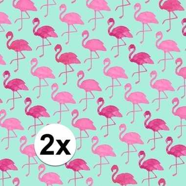 2x gekleurd cadeaupapier met flamingos 70 x 200 cm type 2 prijs