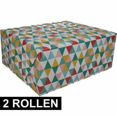 2x gekleurd cadeaupapier met grafische print 70 x 200 cm prijs