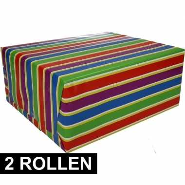 2x gekleurd cadeaupapier met strepen 70 x 200 cm type 1 prijs