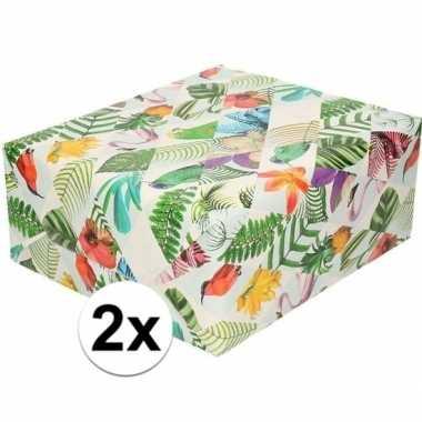 2x gekleurd cadeaupapier met tropische vogels 70 x 200 cm prijs