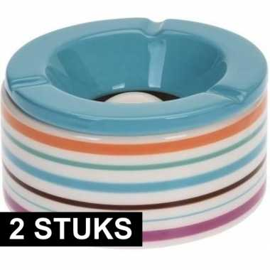 2x gekleurde asbakken met blauwe deksel voor binnen en buiten 12 cm p