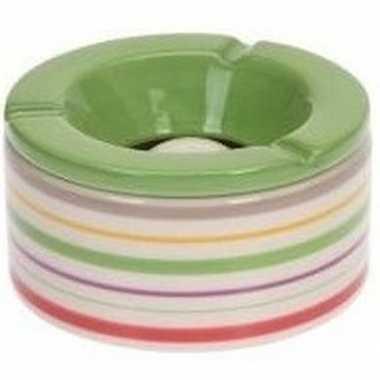 2x gekleurde asbakken met groene deksel voor binnen en buiten 12 cm p