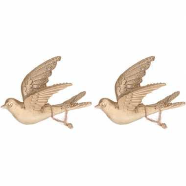 2x gouden vogels kerstornamenten kersthangers 11 cm prijs