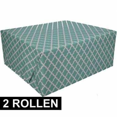 2x groen cadeaupapier 70 x 200 cm type 2 prijs