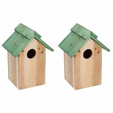 2x groen vogelhuisje voor kleine vogels 24 cm prijs