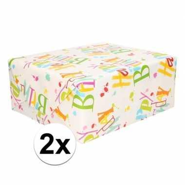 2x happy birthday cadeaupapier 70 x 200 cm prijs