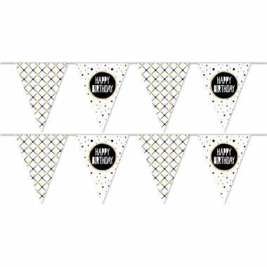 2x happy birthday metallic feest versiering vlaggenlijnen 10 meter pr
