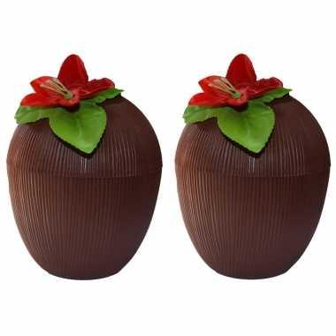 2x hawaii bekers kokosnoot 250 ml prijs