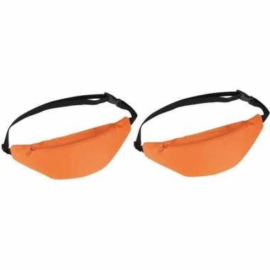 2x heuptassen/fanny packs oranje met verstelbare band prijs