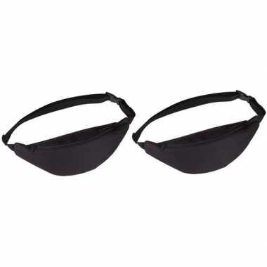 2x heuptassen/fanny packs zwart met verstelbare band prijs