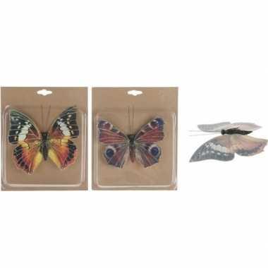 2x hobby decoratie vlinders op clip 17 cm prijs