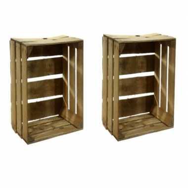 2x houten fruitkistje 30 x 50 x 40 cm prijs