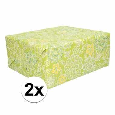 2x kadopapier bloemen 70 x 200 cm prijs