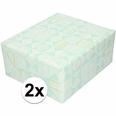 2x kadopapier mintgroen met witte streepjes 70 x 200 cm prijs