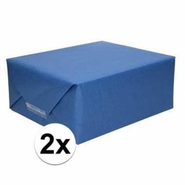 2x kaftpapier donkerblauw 70 x 200 cm kraftpapier prijs