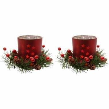 2x kerstdecoratie theelichthouders rood 8 cm prijs