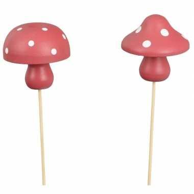 2x kerststukje instekertjes met houten paddenstoeltjes 31 cm prijs
