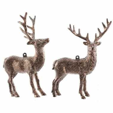 2x koperbruine herten kerstornamenten kersthangers 14 cm prijs