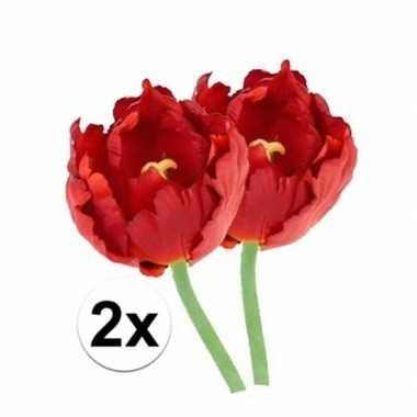 2x kunstbloemen tulp rood 25 cm prijs