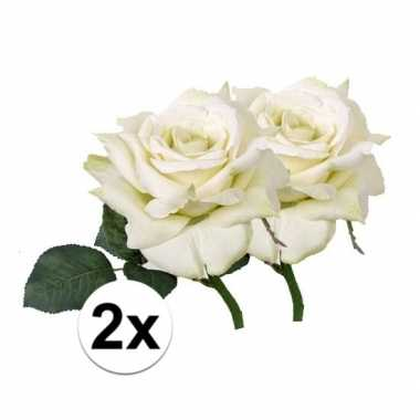 2x kunstbloemen witte roos 31 cm prijs
