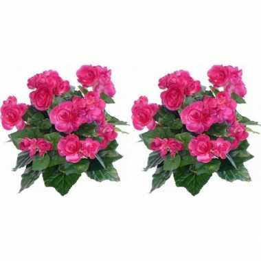 2x kunstplanten begonia roze 30 cm prijs