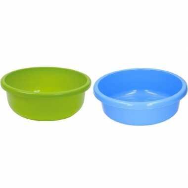 2x kunststof afwasbak / afwasteiltje blauw en groen 9 liter prijs