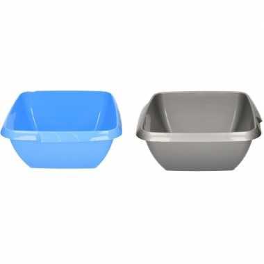 2x kunststof afwasbak / afwasteiltje grijs / blauw 11 liter prijs
