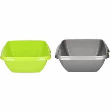 2x kunststof afwasbak / afwasteiltje grijs / groen 11 liter prijs