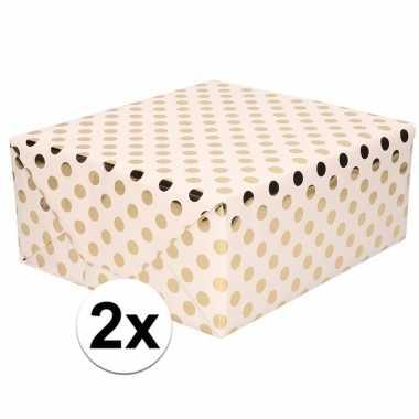 2x licht roze folie geschenkpapier gouden stip 200 x 70 cm prijs