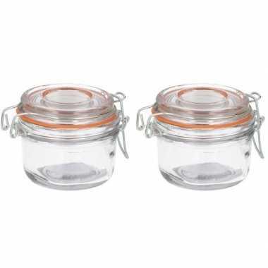 2x luchtdichte pot transparant glas 125 ml prijs