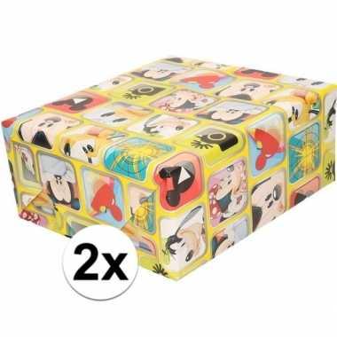 2x mickey mouse geschenkpapier geel prijs