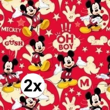 2x mickey mouse geschenkpapier rood prijs