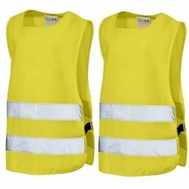2x neon geel veiligheidsvest voor kids prijs