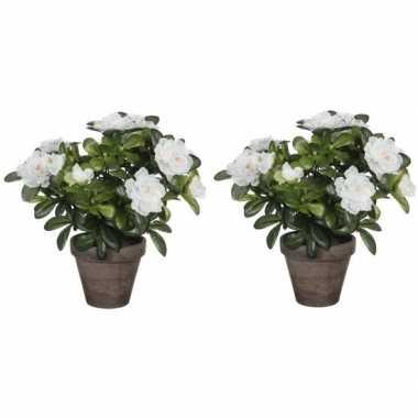 2x nep planten groene azalea kunstplanten met witte bloemen 27 cm met