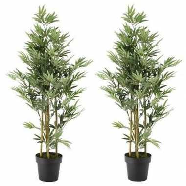 2x nep planten groene bamboe kunstplanten 125 cm met zwarte pot prijs