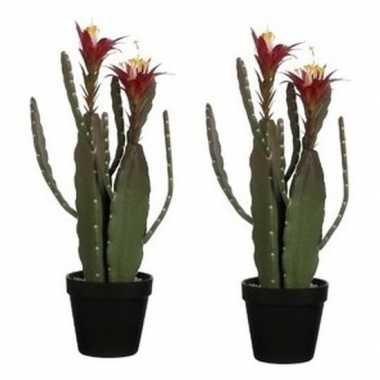 2x nep planten groene cactus met bloemen kunstplanten 47 cm met groen