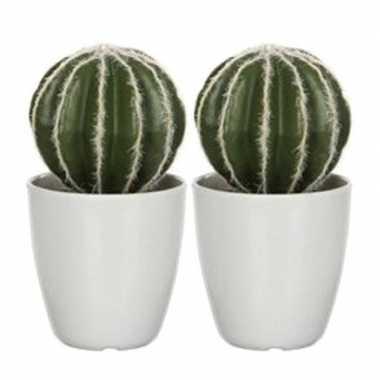 2x nep planten groene echinocactus bolcactus kunstplanten 28 cm met w