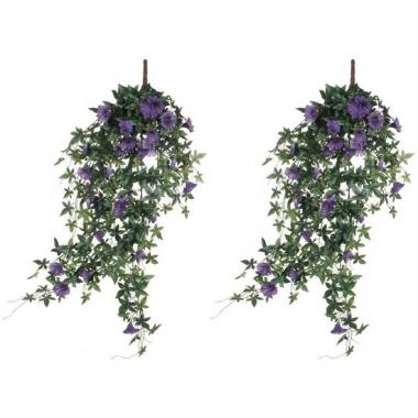 2x nep planten groene petunia met paarse bloemen kunstplanten 80 cm m