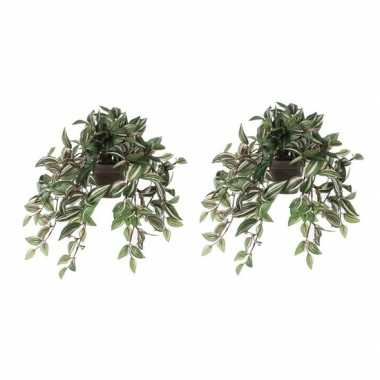 2x nep planten groene tradescantia/vaderplant kunstplanten 45 cm met