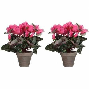 2x nep planten roze cycklamen kunstplanten 30 cm met oranje bloemen e
