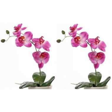 2x nep planten roze orchidee/phalaenopsis binnenplant, kunstplanten 4