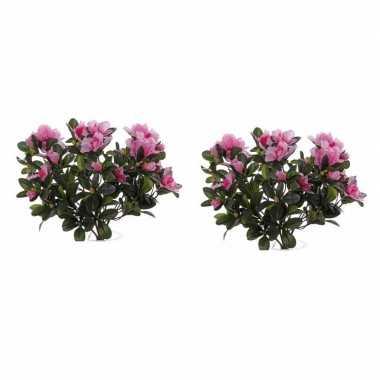 2x nepplanten roze azalea binnenplant kunstplanten 20 cm prijs