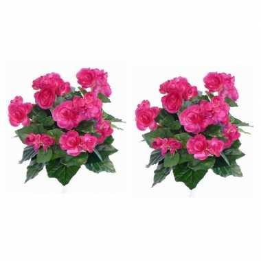 2x nepplanten roze begonia binnenplant kunstplanten 30 cm prijs