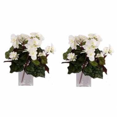 2x nepplanten witte begonia binnenplant, kunstplanten 30 cm prijs