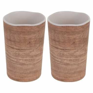 2x onbreekbare drinkbeker/mok houtprint 11 cm prijs