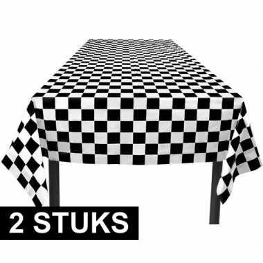 2x party tafelkleden zwart/wit geblokt 130 x 180 cm prijs